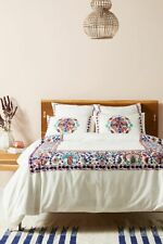 Anthropologie Aricota Floral Embroidered Crewel Twin Duvet Cover