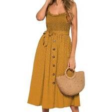 Ladies Summer Sleeveless Boho Floral Strappy Maxi Dress Holiday Beach Sundress