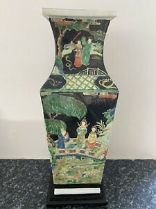 Chinese square section famille noire porcelain vase 6 Character wooden stand