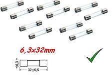 Fusibile Rapido 1,6A 6,3x32mm - Fusibili in Vetro 250Vac Confezione 10pz