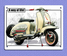 PLACCA di Metallo Segno stile retrò vintage scooter stile di vita LAMBRETTA 20 x 15 cm