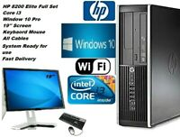"""FAST HP 8200 CORE i3 PC COMPUTER DES WIN 10 PRO 19"""" MONITOR FULL SET WITH CABLES"""