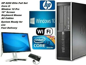 """HP PC COMPUTER CORE i3 WIN 10 PRO 19"""" MONITOR FULL SET WiFi CABLES FREE DELIVERY"""