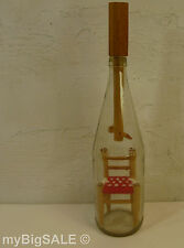 Vintage Ladder-back Chair in a Bottle Folk Art wood red yarn clear glass 14""