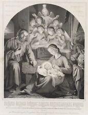 KOOPMANN; MAIER, Geistl. Liedersegen mit hl. Familie, Krippe, 19. Jh., Litho
