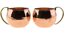 2 X HEAVIEST 100% Solid Pure Hammered Copper Water Moscow Mule Mug Cup Set,20 Oz