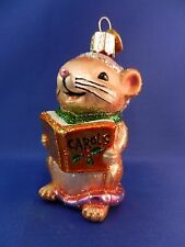 Old World Christmas Ornament Caroling Mouse Tree Glass Fairy tale Animal 12427