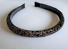 Serre-tête fin 1,3cm tissu velours noir motif déco paillettes or ST0135D