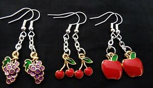 3 Beautiful Pairs of Enamel Grape Cherry and Apple Dangle Earrings Ideal Gift