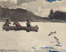 Homer Winslow Fishing  Ouananiche Lake St John PQ Canada Canvas 16 x 20  #5402
