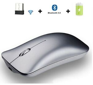 Wireless Mouse Bluetooth 5.0 USB Aluminum Alloy Rechargeable Silent Mouse