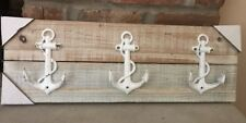 Flat Gray Wood Metal Anchor 3 Hook Key/Hat Hanging Wall Mount Rack Nautical NEW