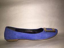 pre-loved authentic ROGER VIVIER size 7 cobalt blue suede ballet flats MINT!