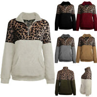 Women Fleece Half Zip Pullover Teddy Jacket Coat Leopard Print Sweatshirt Tops