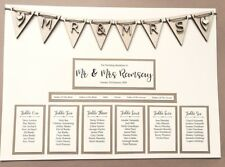 A3 rustic wooden bunting design wedding table plan / seating plan. Seating chart