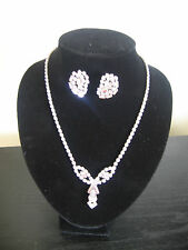 Signed Sherman Alexandrite Mauve Necklace & Earrings