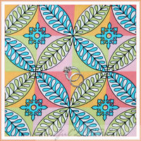 BonEful Fabric FQ Cotton Quilt VTG Block Paula Prass Lights Fancy Rainbow Flower