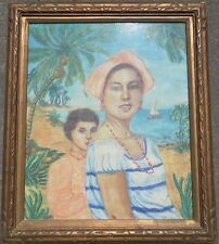 CARIBBEAN ORIGINAL PASTEL PAINTING SIGNED YOUNG TROPICAL WOMAN CHILD PORTRAIT