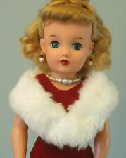 "White Faux Fur Stole for 17-22"" Fashion Doll Miss Revlon Cissy Toni Sue Dollikin"