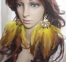 536b1-5 peacock Yellow Feather Earrings Jewelry 1 pair lhf130921