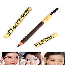 Leopard Longlasting Brown Eyeliner Eyebrow Pencil Brush Waterproof Make Up Tool