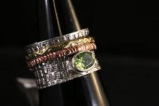 3 tone band copper spin, 925 Silver unisex ring W/Peridot Stone