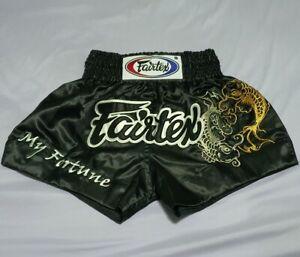 FAIRTEX SHORTS MUAYTHAI BS0639 FORTUNE FISH KICK BOXING MMA XL BLACK SATIN ADULT