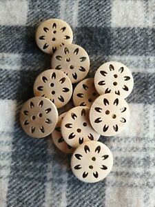 25mm large natural flower wooden sewing coat jacket craft knitting buttons 10ocs
