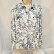 Cowgirl Up Western Floral Shirt with Rhinestone Buttons   Size XL