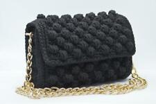 Black Crossbody Handmade Crochet Knitted Women Bag with Metallic Chain