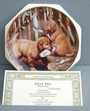 "New! ""Field Trip"" Golden Retriever Collector Plate by Robert Christie Puppy Dog"