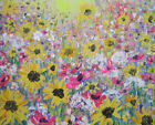 Sunflowers in the Wild Flower Meadow: a large painting on canvas by Jenny Hare