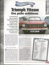 FICHE DESCRIPTIVE - TECHNIQUE - LA TRIUMPH VITESSE DE 1962