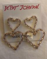 BETSEY JOHNSON Gold Tone & Pink Cubic Zirconia Open Heart Double Drop Earrings