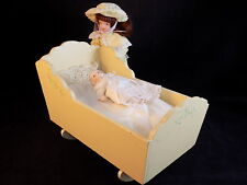 VINTAGE PORCELAIN DOLLS MOTHER AND BABY with Wooden Rocking Crib