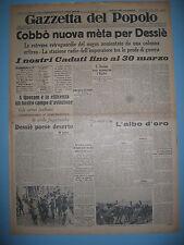GAZZETTA DEL POPOLO 8/4/1936  Cobbò nuova meta per Dessiè