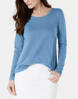 Style & Co. Women's Long-Sleeve T-Shirt Crew Neck Knit Tee Top Blue L MSRP $35