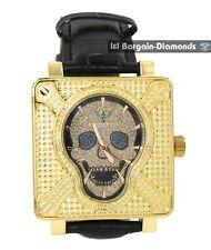 men's diamond king skull watch gold tone red black dial leather strap pinhead