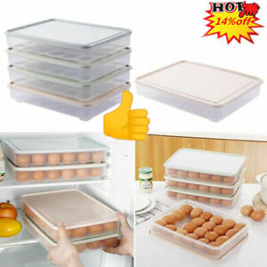 24Eggs Clear Egg Storage Carton Box Tray Fridge Stackable Container Basket K