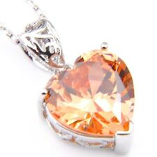Romantic Love heart Natural Honey Morganite Platinum Plated Necklace Pendants