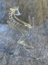 "Vintage Clear 5"" Blown Glass Pegasus Horse Figurine"