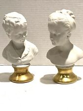 New listing Pair Of German Bisque Porcelain Busts Of A Boy And Girl