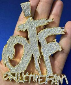 "2.10cts Simulated Diamond Men's Custom ""OTF"" Name Pendant 14k Yellow Gold Over"