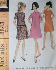Vtg 1960s McCall 8843 Darted Dress Sewing PATTERN Junior 11-13 UnCUT FF