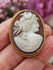 ANTIQUE VICTORIAN 9ct GOLD CARVED SHELL CAMEO BROOCH - BEAUTIFUL !