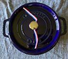 Staub Cast Iron Shallow Wide Round Cocotte 4-qt, Sapphire Blue