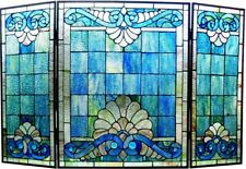 "44"" Victorian Blue Tiffany Style Stained Glass Fireplace Screen"