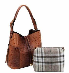 Ostrich Croc Side Zip Pocket Handbags for Women Shoulder Bags Tote Satchel Hobo