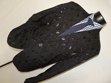 Diseño Premium Hombre 100% Algodón Negro Paisley Chaqueta Talla XL