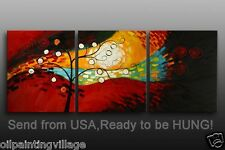 Framed Impressionist Abstract tree Landscape Oil Painting On Canvas Ready To Hun